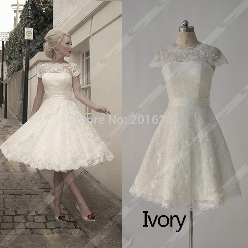Fashionable Vestido De Noiva Curto Lace Cap Sleeve White/Ivory Ball Gown Ribbon Sashes Real Sample Short Wedding Dress 2015(China (Mainland))