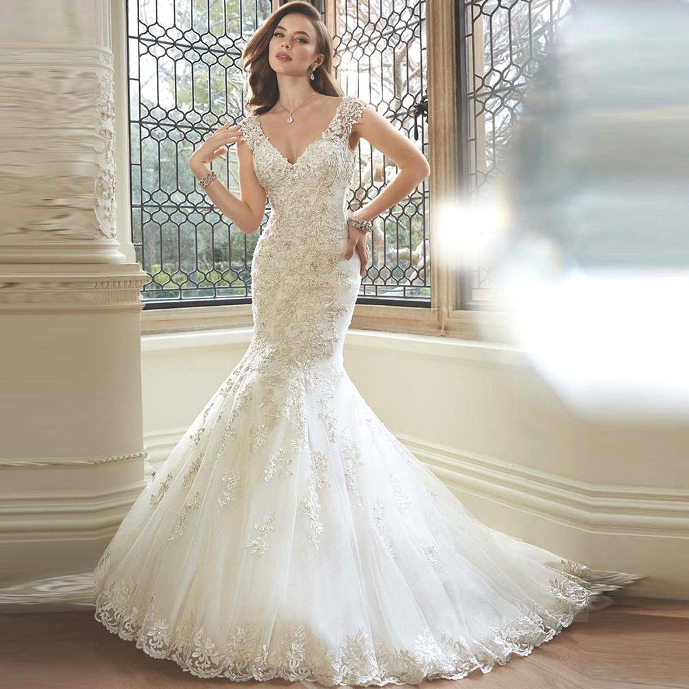 Gorgeous Mermaid Wedding Dresses : Elegant v neck lace mermaid wedding dresses gorgeous