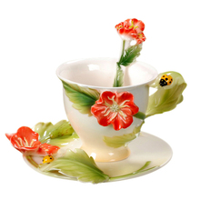 ladybug red poppy coffee set tea 1cup 1saucer 1spoon