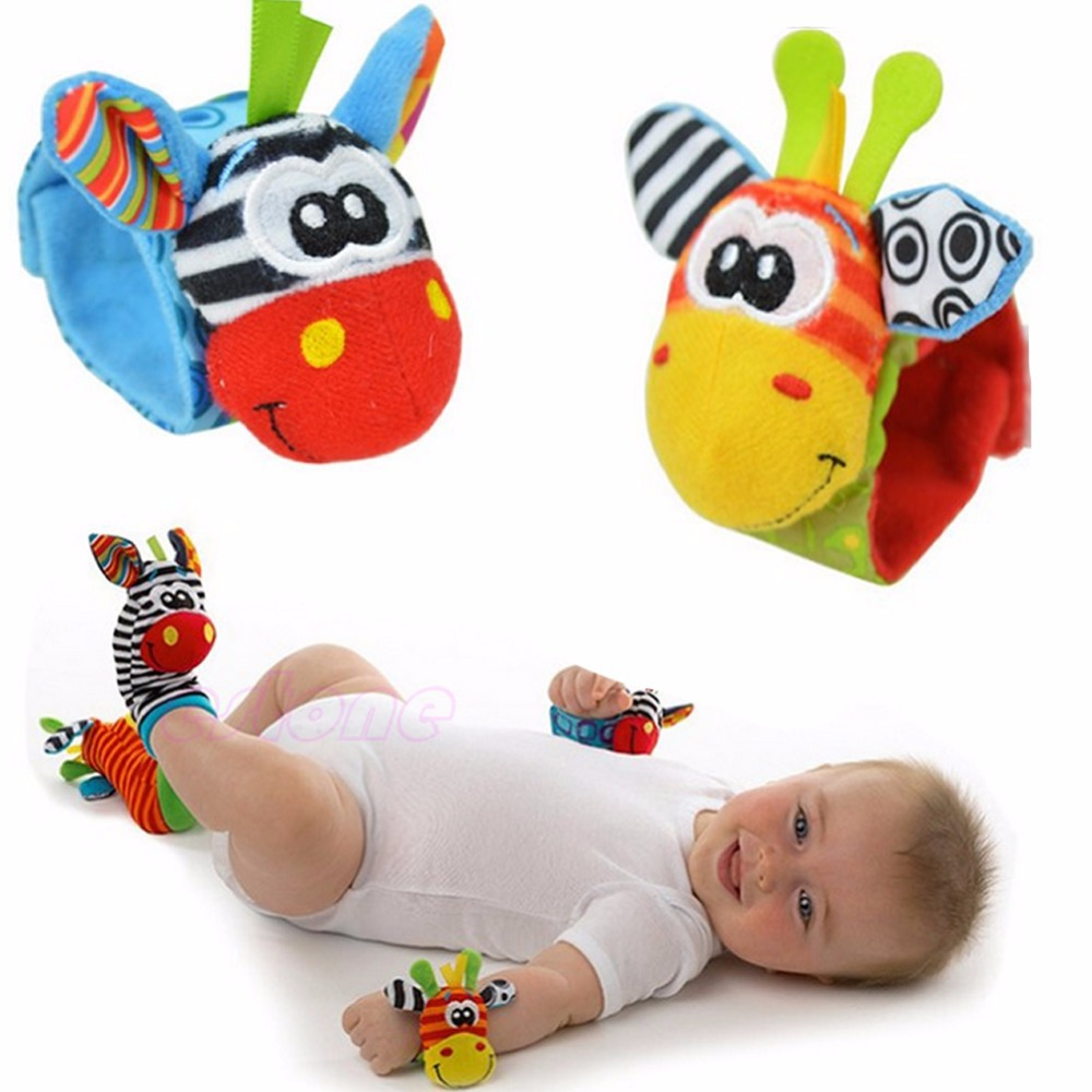 Free Shipping 1pc Cute Animal Infant Baby Kids Hand Wrist Bells Foot Sock Rattles Soft Toys