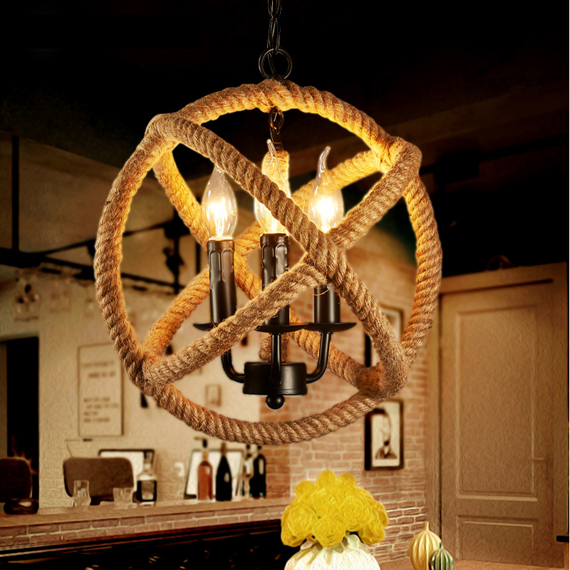 retro pendant lights fixtures lampara Vintage industrial lighting rope Pendant Lamp Loft light American Style For Living Room(China (Mainland))
