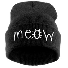 Fashion MEOW Cap Men Casual Hip-Hop Hats Knitted Wool Skullies Beanie Hat Warm Winter Hat for Women Drop Shipping SW43