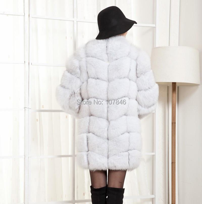 2016 Luxury Lady Genuine Real Fox Fur Coat Jacket  Winter Women's Fur Trench Outerwear Coats Long Sleeve Cotton Lining VK1473