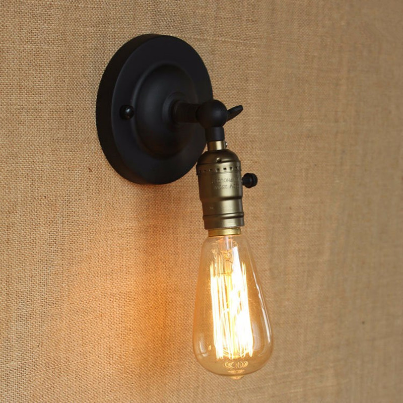 Tiffany Switched Wall Lights : Edison light bulb Mini wall lamp Knob switch warehouse loft American country retro industry ...