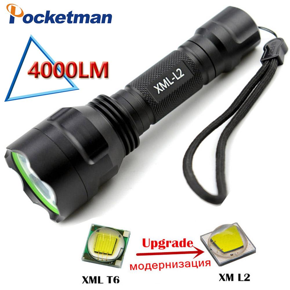 C8 Led Flashlight 4000 Lumens CREE XM L2 lanterna Led Torch Light Camping Hiking Ourdoor Flash Light torch ZK92(China (Mainland))