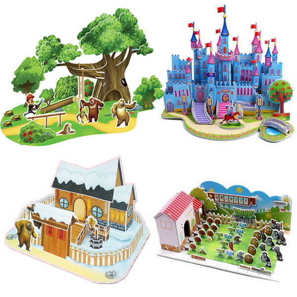 Angel Z DIY 2015 Learning Education 3D Castle Cartoon Puzzle Educational Baby Kids Training jigsaw Puzzles Toys children - Store store