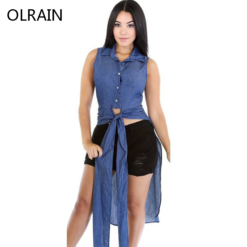 Perfect 2016 Denim Dresses Summer Elegant Women39s Clothing Lapel Sleeveless