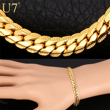 "18K Real Gold Plated Bracelet With ""18K"" Stamp Men Jewelry Gift Wholesale 3 Colors Trendy 6MM Wide Chain & Link Bracelet H339(China (Mainland))"
