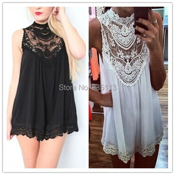 2015 Brand New Women Black White Sleeveless Lace Crochet Dresses Hollow Out Flower Mini Dress Fashion Sexy Short Dress S-4XL(China (Mainland))