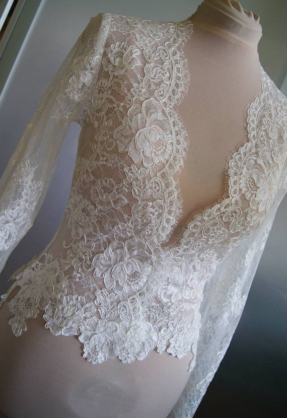 Deep V neck long sleeves lace white bridal bolero jacket free shipping free custom-made