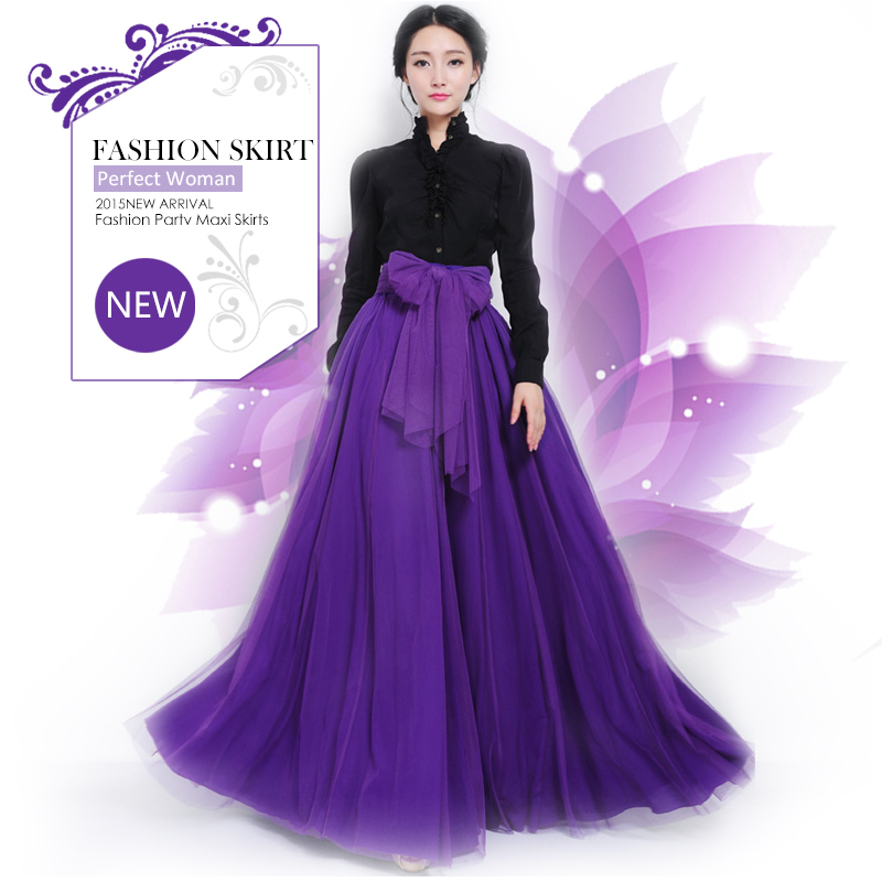 MORI 2015 NEW Summer Fashion Style Maxi Skirts Womens Casual Prom Empire High Waist Ball Gown Solid Long Tutu Skirt(China (Mainland))