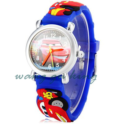 Rubber kids silicone children Rubber sports Car cartoon watches digital quartz Cartoon Applauded Electronic Watch(China (Mainland))