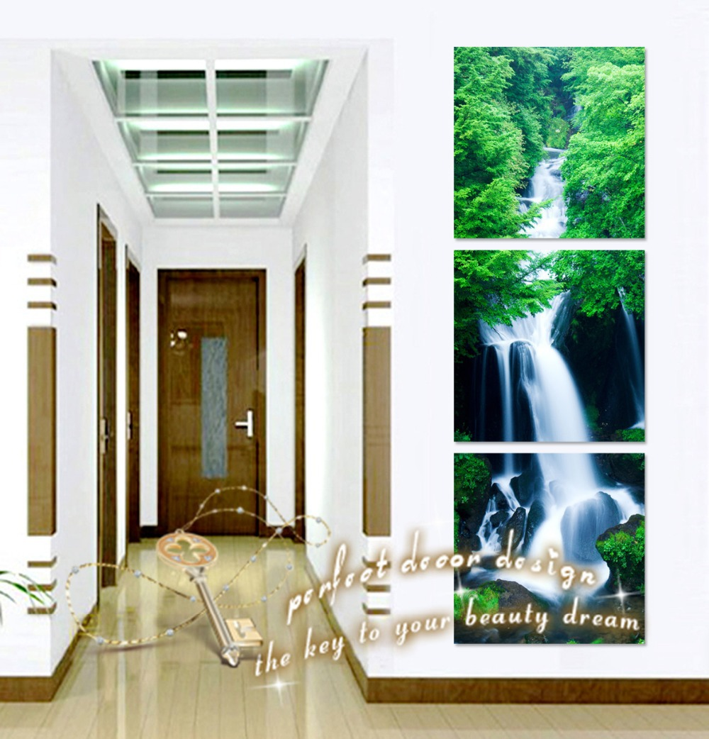 Wedding Decoration Painting On Wall HD Images No Frame Printed Canvas Waterfall Up To Down Clear Nature In Life(China (Mainland))