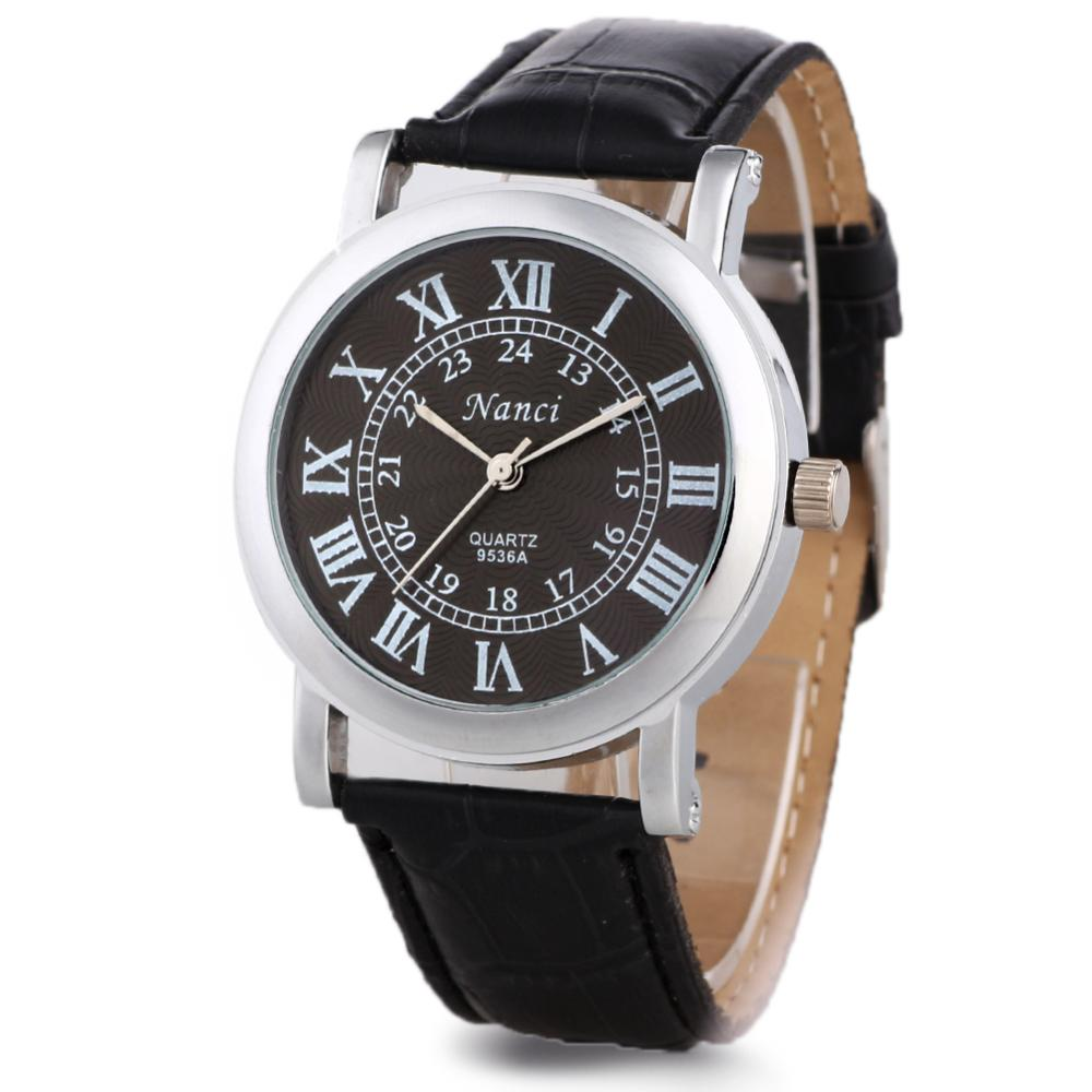 Flower Line Texture Dial Men Accurate Roman Numerals Retro Leatheroid Band 2Colors New Free Shipping Stylish