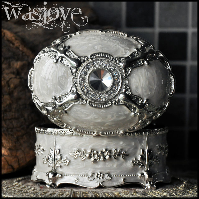 Large Size Luxury Silver White Metal Jewelry Box Jewelry Cases birthday gift the Valentine's Day gift free shipping(China (Mainland))