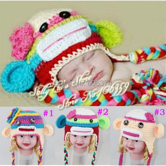 Crochet Pattern Multicolor Sock Monkey Hat Handmade Baby Hat Kids Funny Winter Monkey Beanie Cap Free Shipping(China (Mainland))