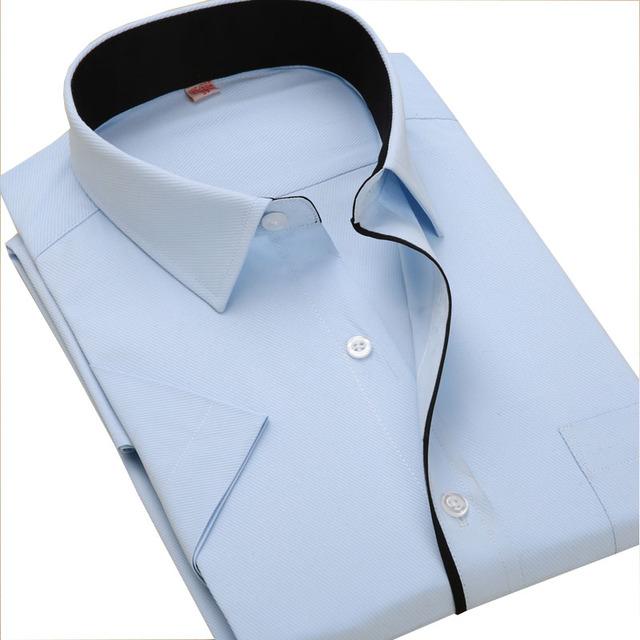 Рубашка 2016 рубашка с короткими рукавами шить цвет саржевые Camisa Masculina полосатой ...
