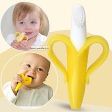 2016 Hot vente Orange de sécurité écologique banane bébé dentition dentition Silicone brosse à dents anneaux oral hygiène(China (Mainland))