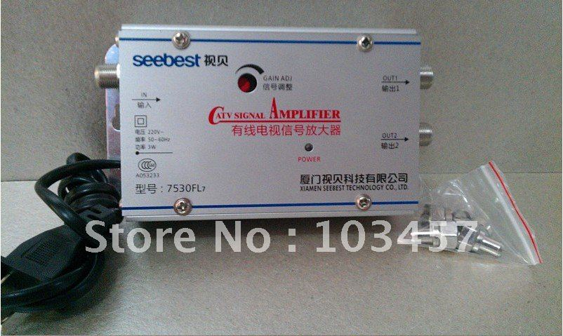 Free shipping, SB-7530FL7, 2 way catv signal amplifer, Sat Cable TV Signal Amplifier Splitter Booster CATV, 30DB(China (Mainland))