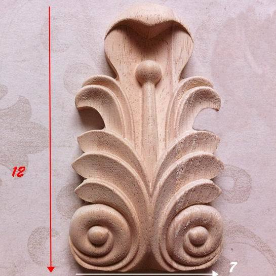 Wood carving dongyang wood fashion column gate flower corner applique smd carved shavings furniture - HOHO'S STORE store