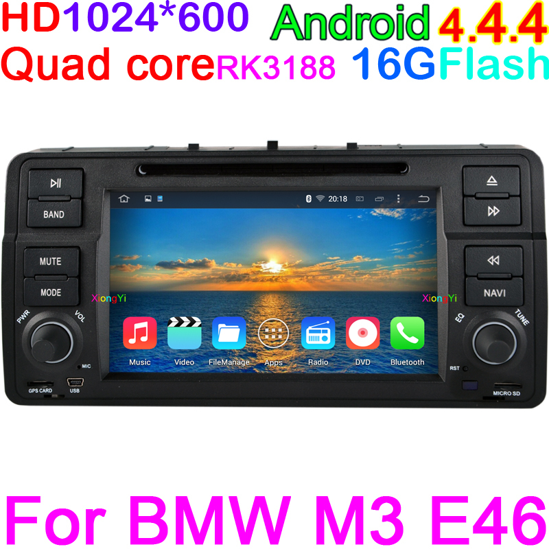 HD1024X600 Screen Android 4.4.4 Quad Core 1.6G RK3188 CPU 16G GPS head unit Stereo DVD Player for bmw e46 M3 Rover 75 MG ZT DVR(China (Mainland))