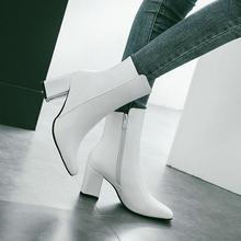 Frauen Side Zipper Bequem Platz Ferse Stiefeletten Mode Karree Halten Warme Winter Schuhe Schwarz Rot Weiß(China)