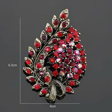 Baiduqiandu Berbagai Macam Warna Merah Kopi Biru dan Ungu Kristal Berlian Imitasi Bunga Daun Bros Pin Antik Vintage(China)