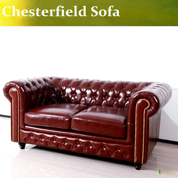 U-BEST high quality Designer chesterfield loveseat sofa, leather classical loveseat sofa, living room furniture(China (Mainland))