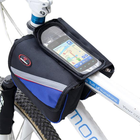 High Quality Cycling Bike Front Frame Bag Tube Pannier Double Pouch for Cellphone Bicycle Accessories Riding Bag Bicycle Basket(China (Mainland))