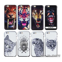 Animal Hard Case iPhone6 6g iPhone 6 4.7 inch apple Hand Drawing Tiger Wolf Bird Cat Dog Elephant Back Cases Mobile Phone Cover - Hots store
