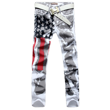 2016 winter Men Casual American USA Flag Printed Jeans Pants Mens Graffiti Print Jean Slim Fit Trousers Plus Size 29-44 H3650(China (Mainland))