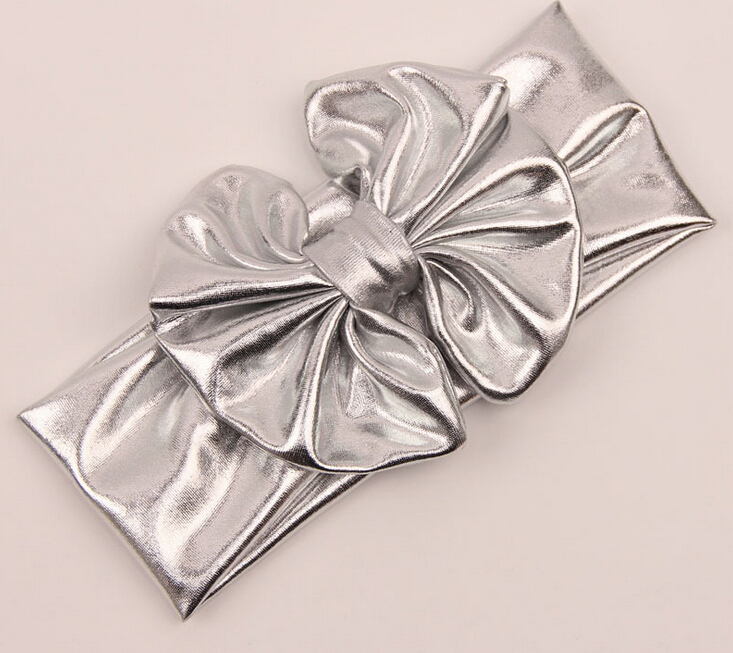 girls kids lovely bohemian gold silver leather big bow headband hairband children elastic hair accesspries hair jewelry(China (Mainland))