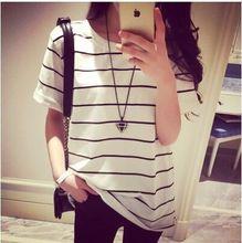New Women Tops O-Neck T-Shirt Short  Sleeve Striped T Shirts Tees Blusas Femininas Free Shipping  ZM011(China (Mainland))