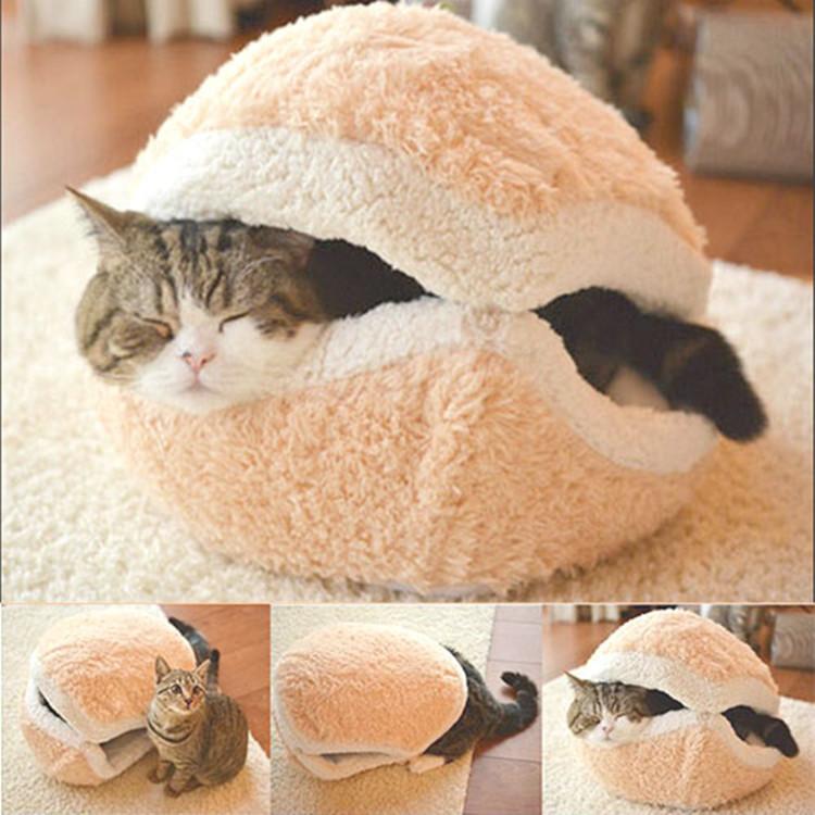 Free Shipping Kitty Hamburger Litter Disassemblability Windproof Pet Nest Shell Cat Bed Hiding Burger Bun Pet Cat Bed CM-PB0048(China (Mainland))