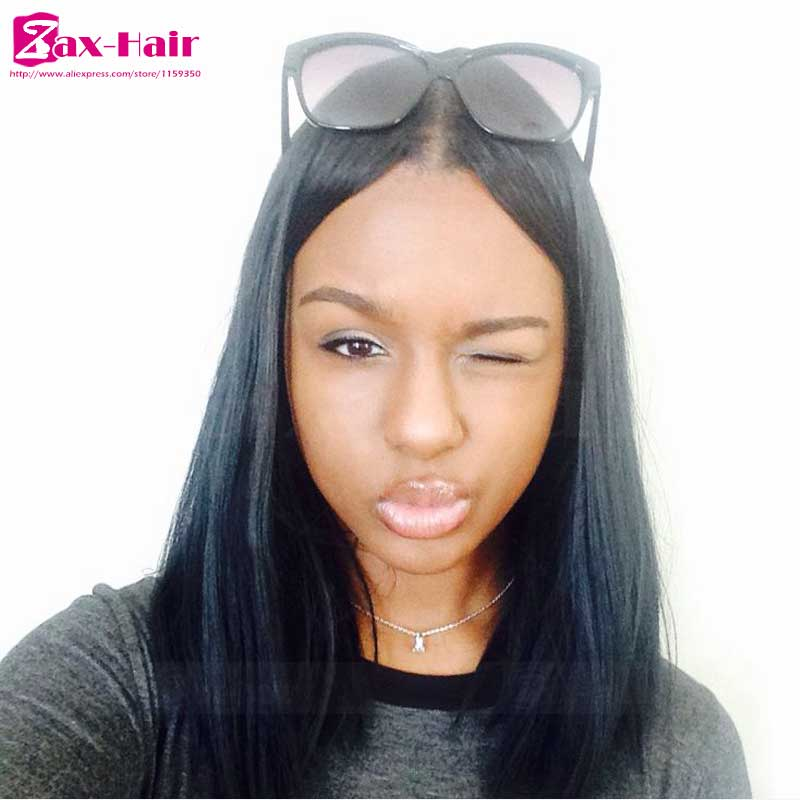 Фотография full lace wig brazilian customized hot sale lace frontal peruvian virgin straight natural hairline bleached knots baby hair