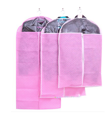 White Dots Non Woven Dust Proof Clothes Cover Suit Dress Garment Bag Protector,Pink(China (Mainland))