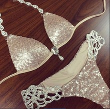 Free Shipping 2016 Sexy  V-neck halter Metal chain sequin Swimwears FT6700(China (Mainland))