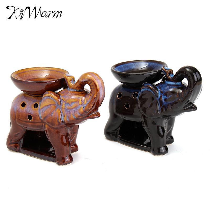 Kiwarm 2pcs Elephant Oil Burner Candle Aromatherapy Fragrance Ceramic Aroma Furnace Holder Bedroom Decor Craft Ornament(China (Mainland))