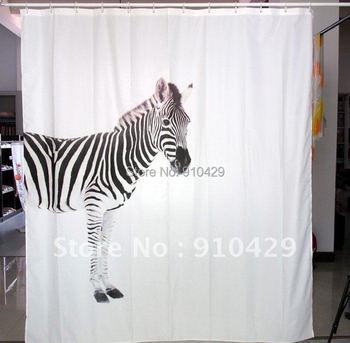 Free shipping Black & White Zebra Design Bathroom Fabric Waterproof Shower Curtain( Designed by Switzerland
