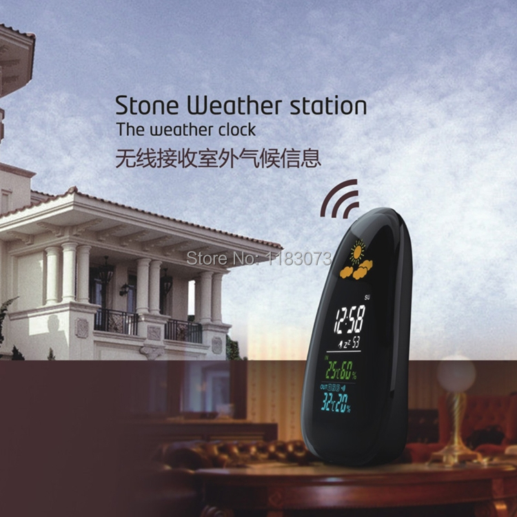 Digital Cobblestone Shaped LED Indoor Outdoor Wireless Weather Station Temperature Humidity Alarm Clock New Arrivals 10sets/lot(China (Mainland))