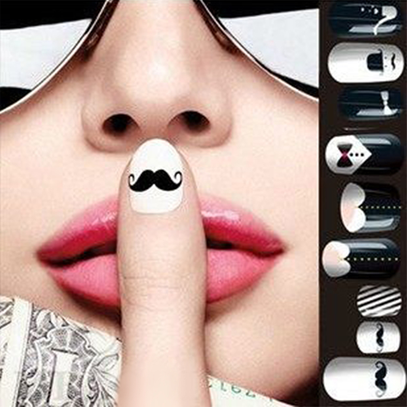 Water Stickers 1 big sheet Black Moustache Nail Art Decals Wraps Transfer - Perfect Summer Store store