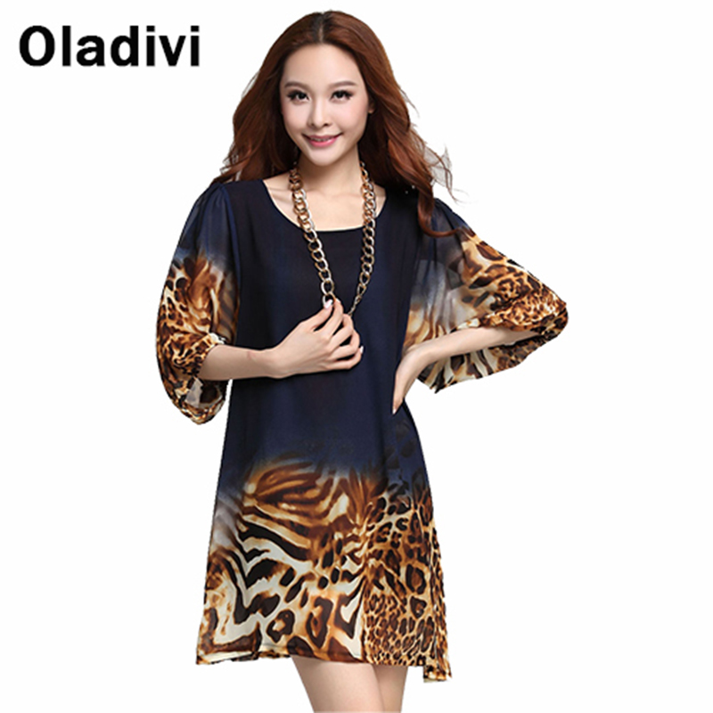 Oladivi 3XL Plus Size Loose Style Women Blouses 2016 Summer New Fashion Floral Leopard Printing Chiffon Shirt Tops Short Dresses - official store