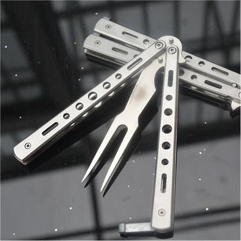 2015 hot Silver Practice Metal Steel BALISONG BUTTERFLY Trainer Training Fork Knife Tool free Shipping<br><br>Aliexpress