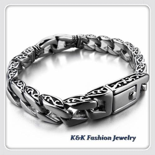 2015 Silber Dragon Chain 316L Stainless Steel Boy's Bracelet Silver Tone mens boys bracelet , ,KB#001 - K&K Fashion Jewelry store