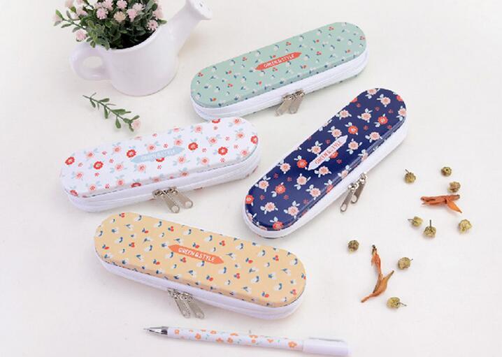 10pcs/lot New Vintage Flower series Zipper Tin pencil case Pencil box Zakka styles office and school supplier wholesale(China (Mainland))
