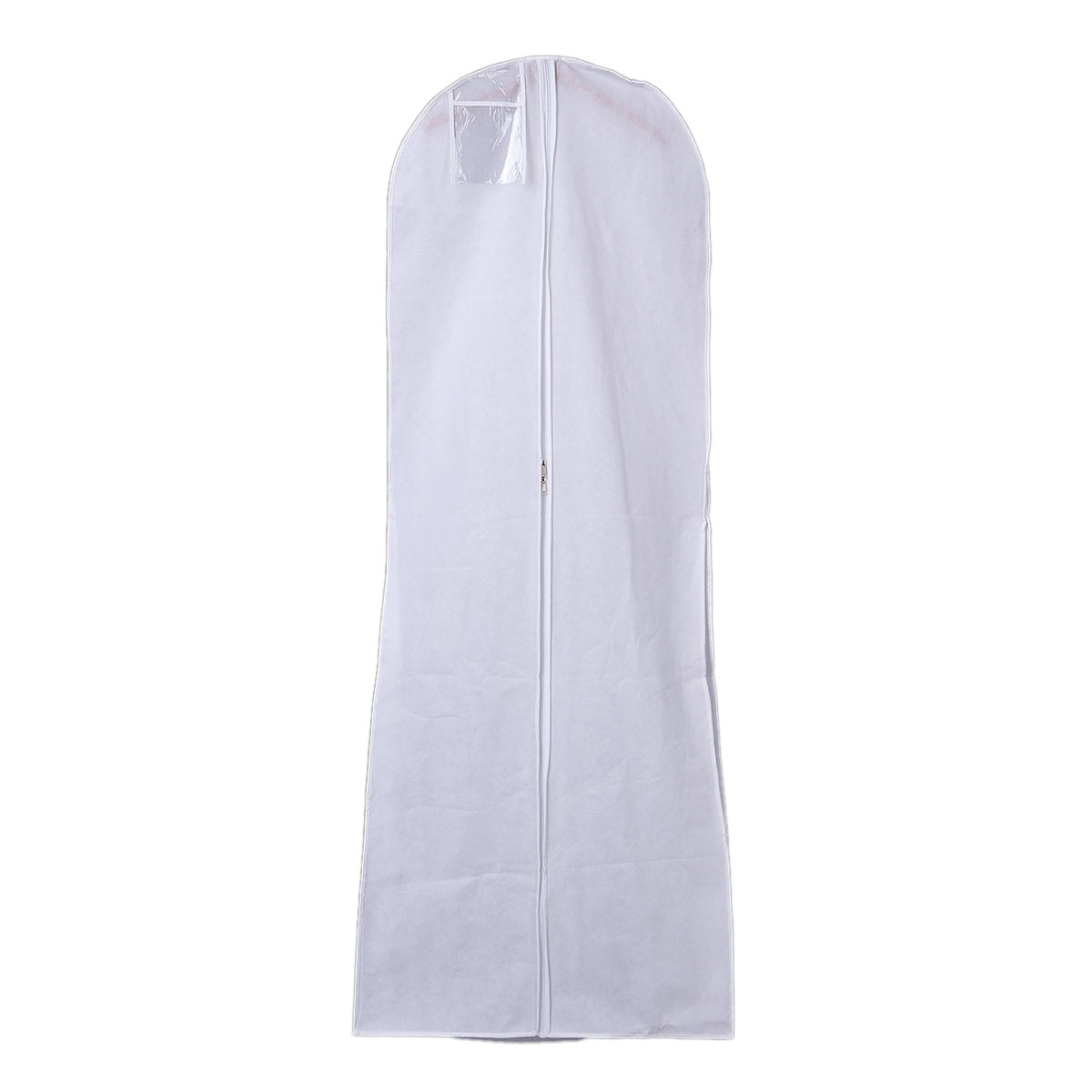 LHLL-Hanging Wedding Dress Bridal Gown Garment Cover Storage Bag Carry Zip Dustproof White(China (Mainland))