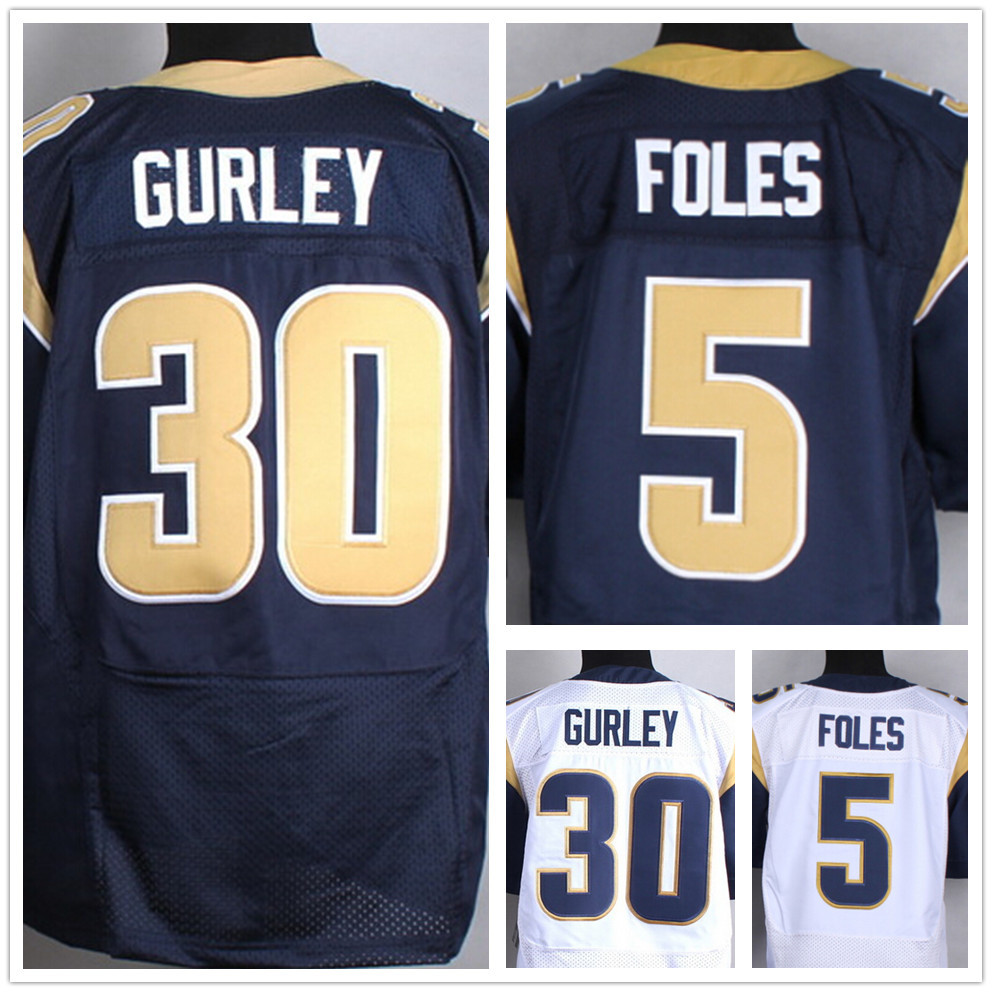 St.Louis #30 Todd Gurley jersey 100% Stitched Elite american football jersey Authentic #5 Nick Foles jersey Size M-XXXL(China (Mainland))