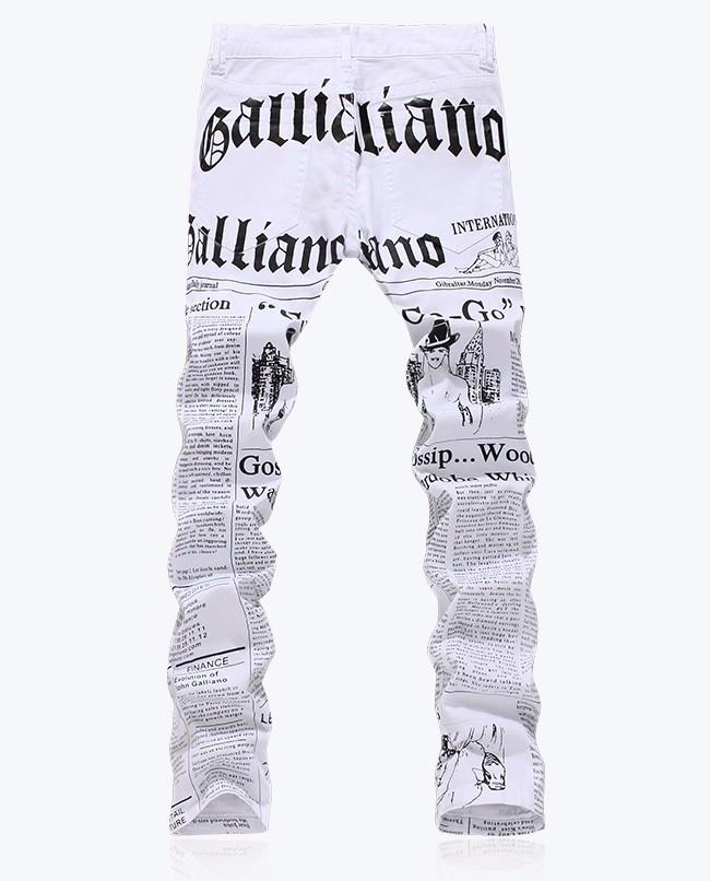 Fashion Novelty Newspaper designer letter print white slim jeans