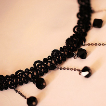 Fashion Leader Women Black Beads Pendant Crystal Bib Chain Jewelry Sexy Lace Choker Necklace 5UED 6SZK
