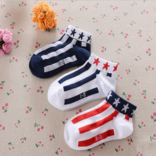 2016 new children fishnet socks baby 200 needle combed cotton socks five vertical stripes paragraph no pilling ATWS0131